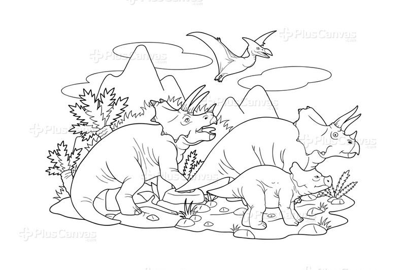Dinozor Boyama Tablo Burada Pluscanvas