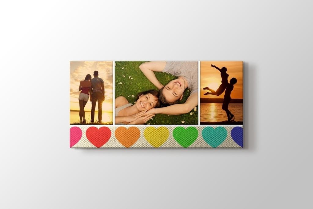 Üç fotoğraftan kalpli panorama tablo görseli.