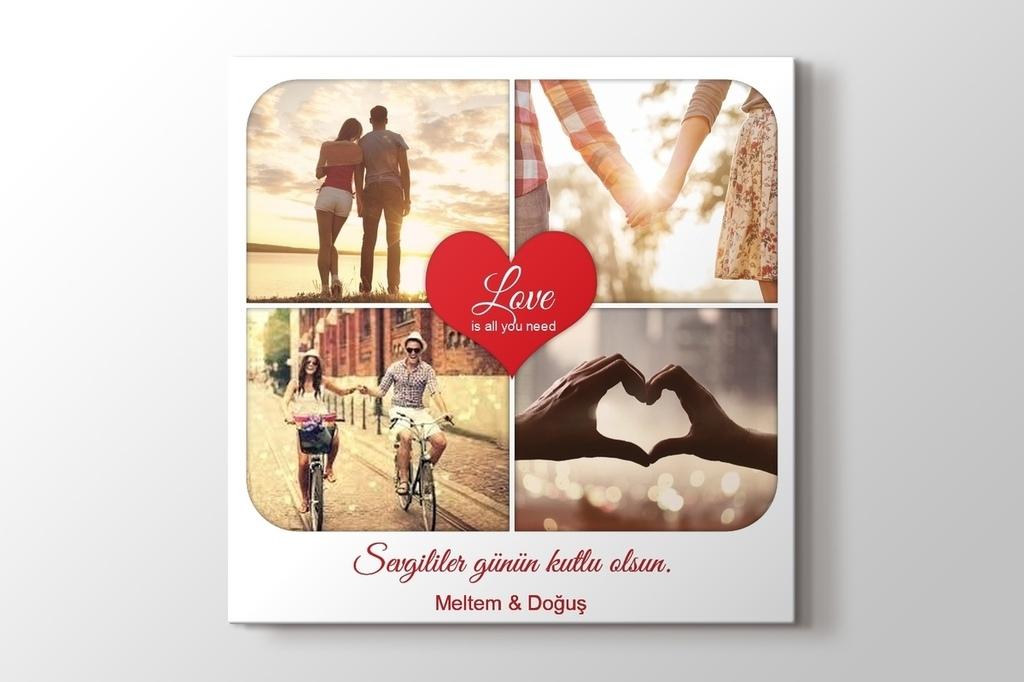 Sevgililer günü kalpli kanvas tablo görseli.
