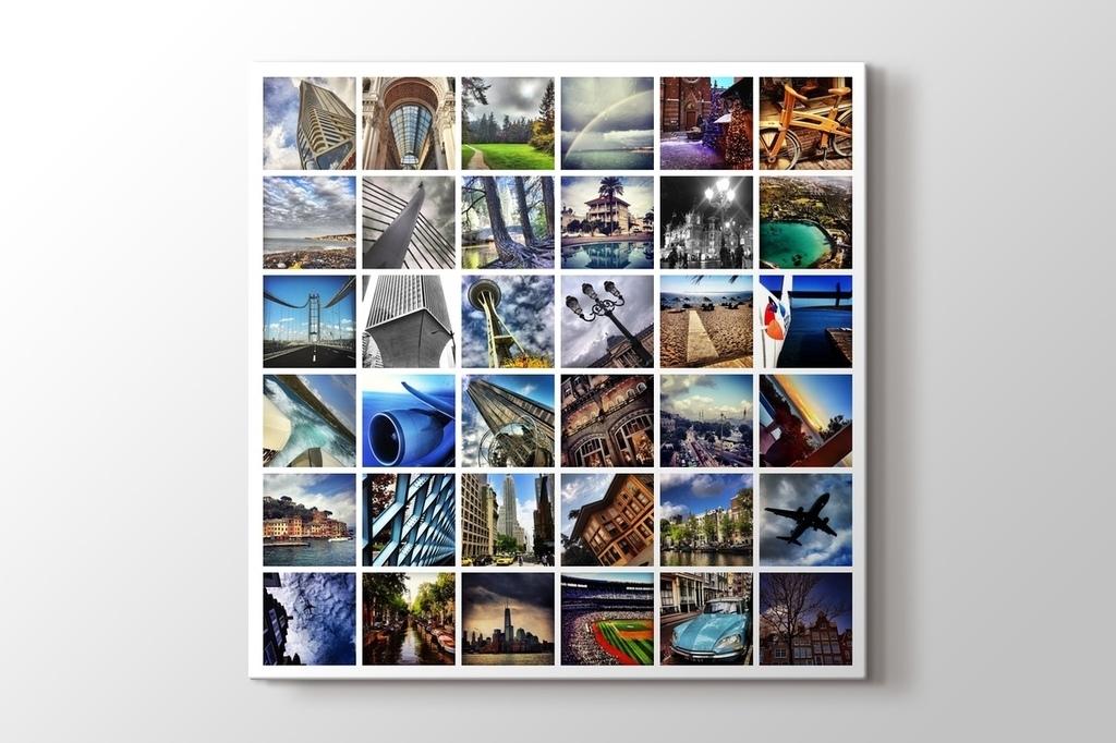 36 fotoğraftan kare mozaik tablo görseli.