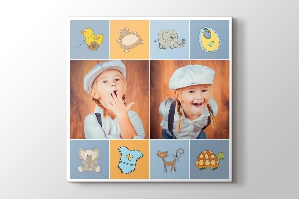 Erkek bebek için iki fotoğraftan kanvas tablo görseli.