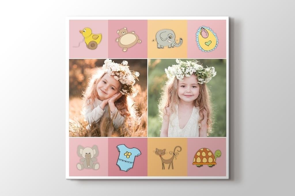 Kız bebek için iki fotoğraftan kanvas tablo görseli.