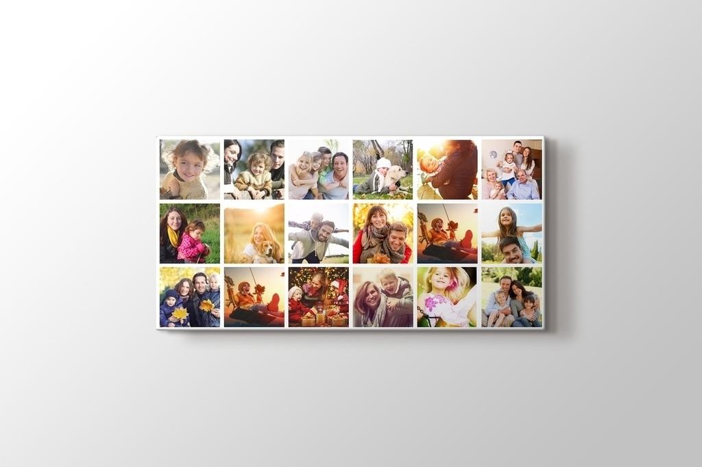 18 fotoğraftan panorama mozaik tablo görseli.