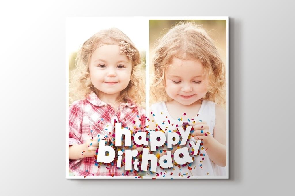 İki fotoğraftan doğum günü hediyesi tablo görseli.
