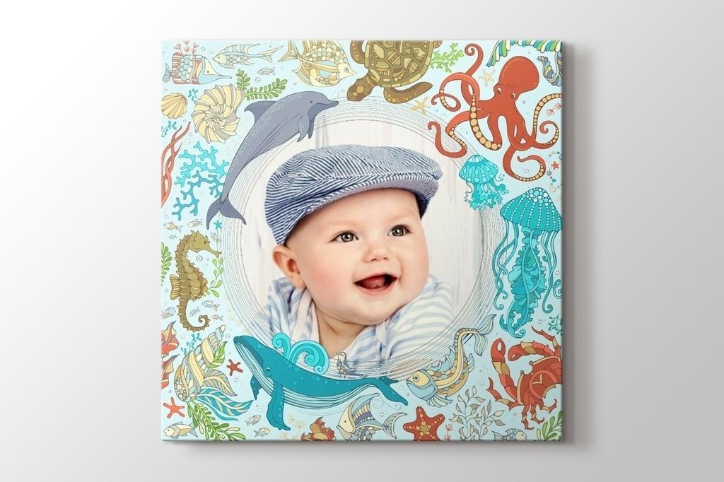 Deniz hayvannları fotoğrafından kanvas tablo görseli.