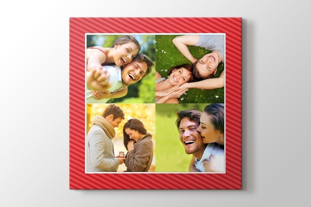 Sevgiline hediye dörtlü kırmızı kanvas tablo görseli.