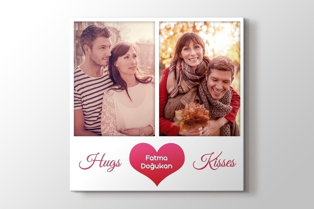 2 fotoğraftan Hugs & Kisses kalpli tablo görseli.