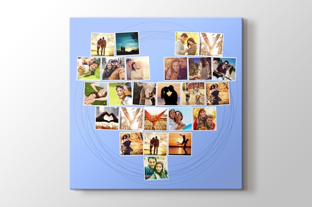 25 fotoğraftan mavi kalpli tablo görseli.