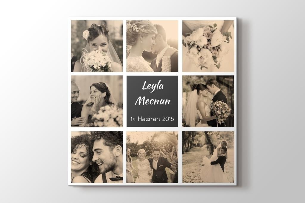 Evlilik ve nişan hatırası kanvas tablo görseli.