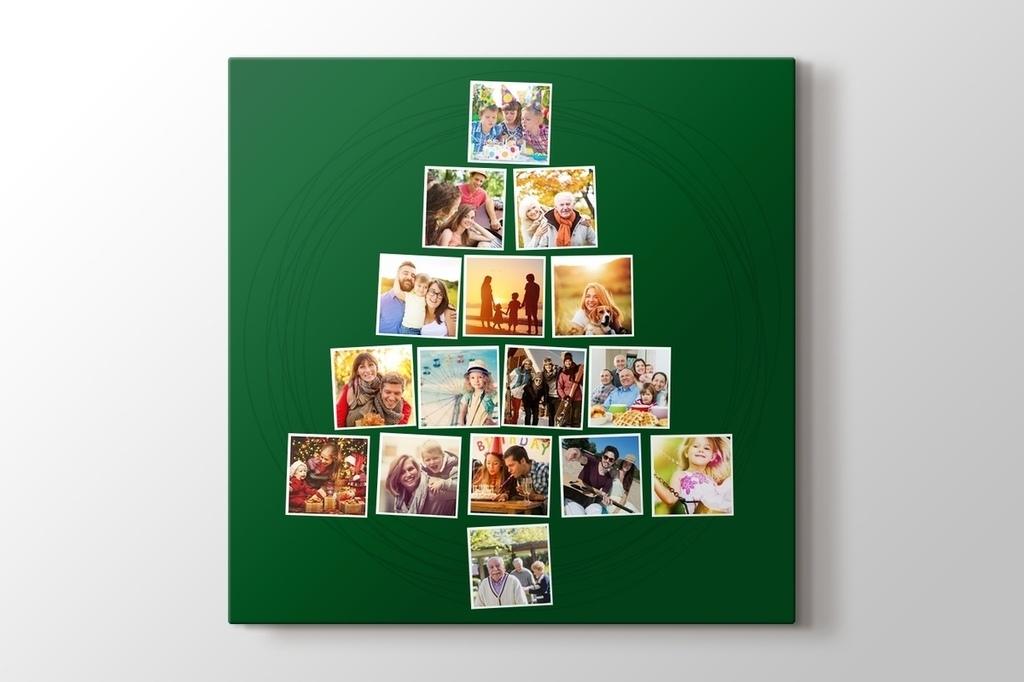 16 fotoğraftan yılbaşı ağacı yeşil kanvas tablo görseli.