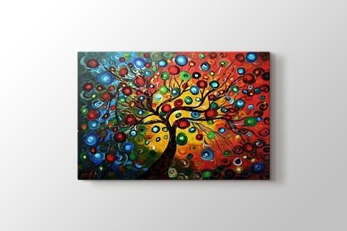 Renkli soyut ağaçlar görseli.