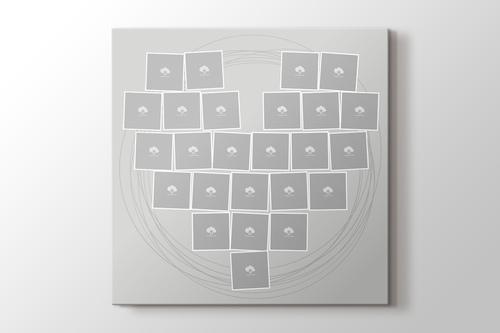 25 fotoğraftan gri kalpli tablo görseli.