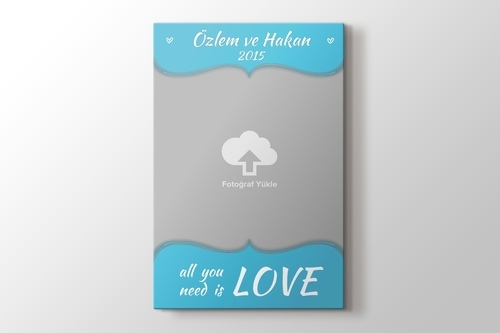 All you need is love mavi kanvas tablo görseli.