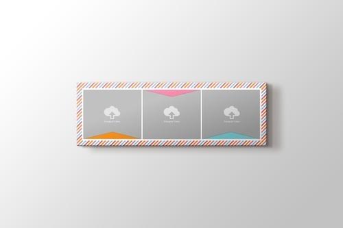 Renkli çizgiler fotoğrafından panorama kanvas tablo görseli.