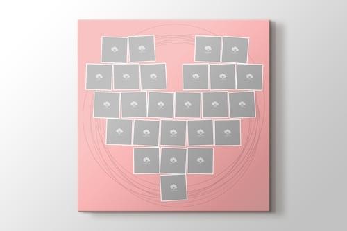 25 fotoğraftan pembe kalpli tablo görseli.