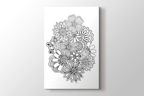 Çiçek aranjman boyama tablo görseli.