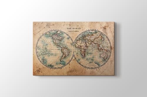 Eskitilmiş Dünya Haritası görseli.