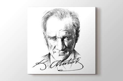 Karakalem Atatürk Ve Imzası Kanvas Tablo Burada Pluscanvas