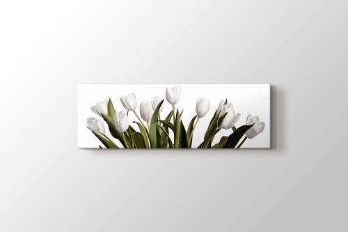 Beyaz Üstünde Bahar Laleleri görseli.