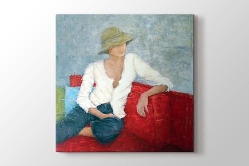 Woman Sitting On Red Chair görseli.