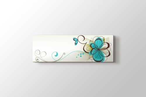 Kahve Mavi Retro Çiçekler görseli.