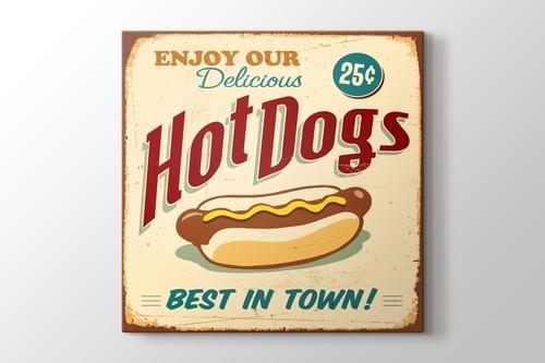 Vintage Hot Dog Afişi görseli.