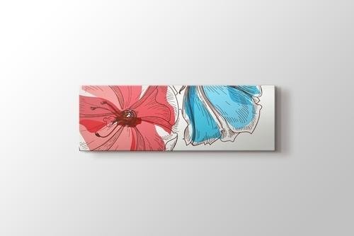 Pembe Mavi Retro Çiçekler görseli.