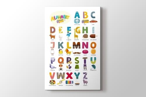 Şekillerden oluşan İngilizce alfabe görseli.