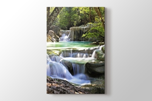 Beautiful Waterfall at Erawan National Park görseli.