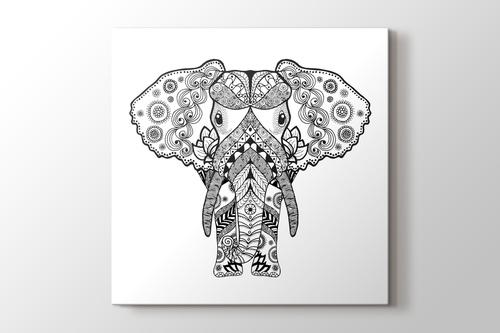 Büyük kulaklı fil boyama tablo görseli.