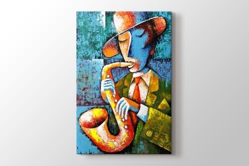 Saksafon sanatçısı Jazz görseli.