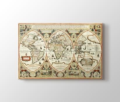 Eski Dünya Haritası Kanvas Tablo Burada Pluscanvas