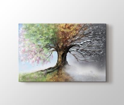 4 Mevsim Ağaç Sonbahar Ve Kış Kanvas Tablo Burada Pluscanvas