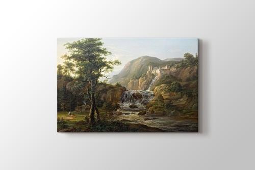 Gebirgslandschaft mit Wasserfall görseli.