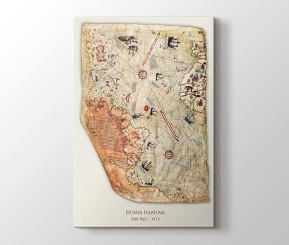 Piri Reis Dünya Haritası 1513 Kanvas Tablo Burada Pluscanvas