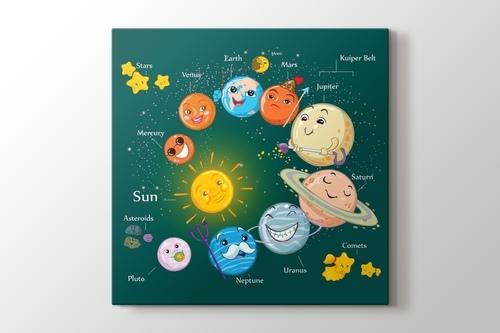 Çocuklar için güneş sistemi görseli.