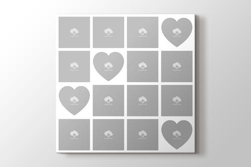 16 fotoğraftan kalpli mozaik tablo görseli.