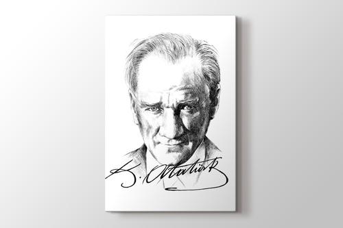 Karakalem Atatürk ve imzası görseli.