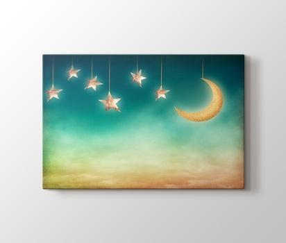 Ay Ve Yildizlar Kanvas Tablo Burada Pluscanvas