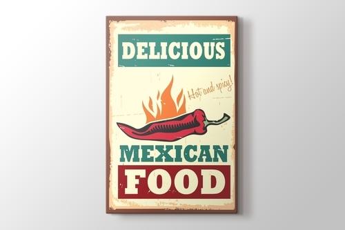 Vintage Meksika Yemekleri Afişi görseli.