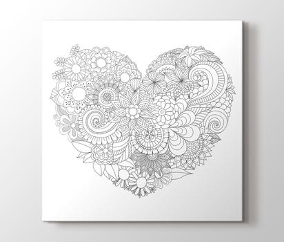 Kalp Desenli Boyama Tablo Burada Pluscanvas