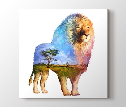 Lion Nature Sulu Boya Reproduksiyon Kanvas Tablo Burada Pluscanvas