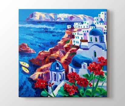 Yagli Boya Santorini Kanvas Tablo Burada Pluscanvas