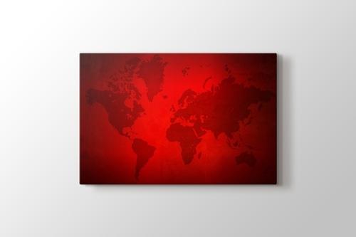 Kırmızı Silüet Dünya Haritası görseli.
