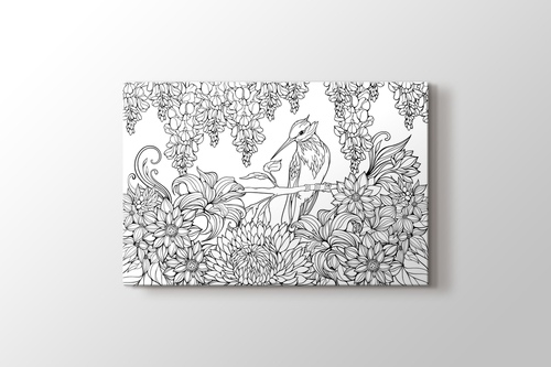Sinek kuşu boyama tablo görseli.