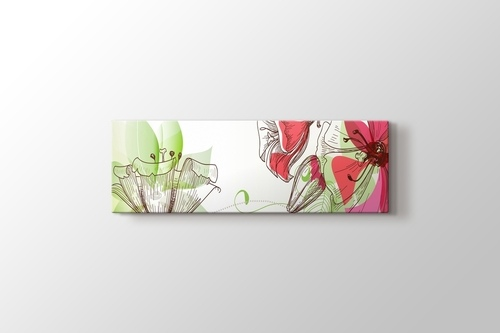 Yeşil Pembe Retro Çiçekler görseli.