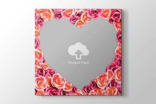Pembe güller kalpli fotoğrafından kanvas tablo görseli.