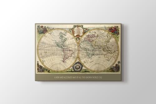 Eski Dünya Haritası 1762 görseli.