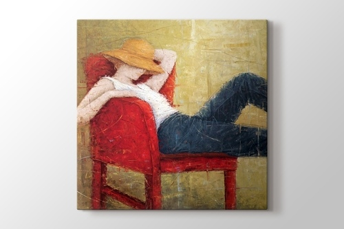 Woman Laying On Red Chair görseli.