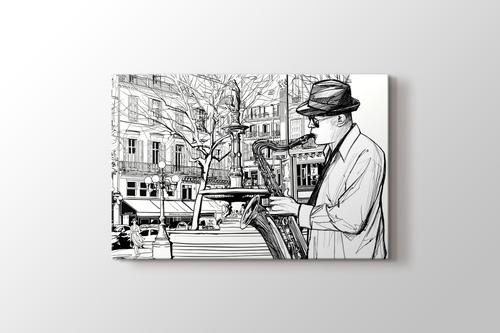 Paris'te Saksafon Sanatçısı görseli.